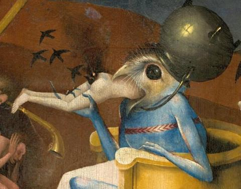 610px-Bosch,_Hieronymus_-_The_Garden_of_Earthly_Delights,_right_panel_-_Detail_Bird-headed_monster_or_The_Prince_of_Hell_-_close-up_head_(lower_right)
